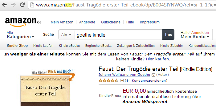 URL to Goethes Kindle German edition