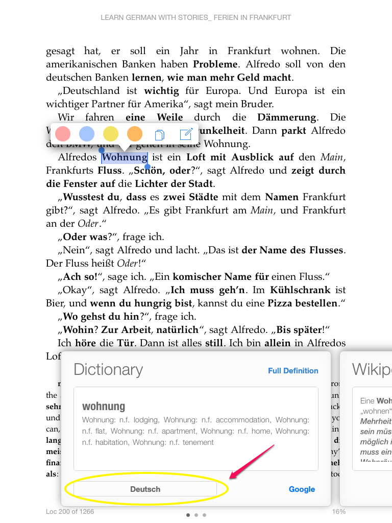 Add a german english dictionary to kindle on your ipad or iphone ios kindle ios dictionary tap word fandeluxe Image collections